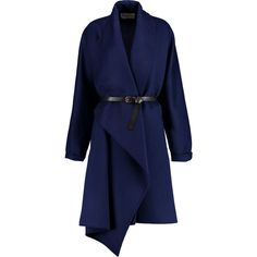 Vionnet Belted wool and angora-blend coat (16.200.195 IDR) ❤ liked on Polyvore featuring outerwear, coats, jackets, coats & jackets, indigo, angora coat, blue coat, belted wool coat, vionnet and woolen coat