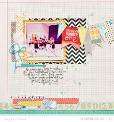 My Number One by maggie holmes at Studio Calico using the Block Party scrapbook kit and add ons 12x12 Scrapbook, Scrapbook Sketches, Scrapbook Page Layouts, Scrapbook Paper Crafts, Photo Layouts, Scrapbook Designs, Crate Paper, Studio Calico, Layout Inspiration