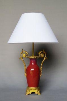 Lampe en porcelaine sang de bœuf, XIXe siècle