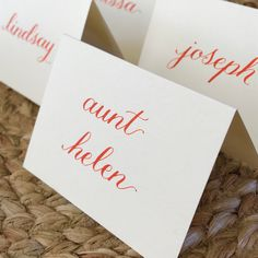 Thanksgiving place cards, personalized, fall name place seating, calligraphy, fall wedding place cards #papergoods #orange #thanksgiving #placecard #thanksgivingcard #thanksgivingseating #friendsgiving #thanksgivingtable #fallplacecard #weddingtable #seatingchart