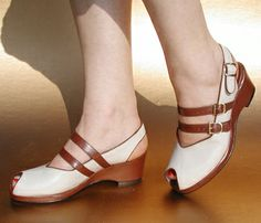 Remix Vintage Twin Strap Slingback Wedge in Bone & Brown Leather