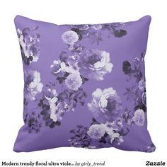 Modern trendy floral ultra violet purple pattern outdoor pillow