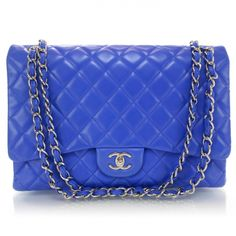 3f56412e8dd2 This is an authentic CHANEL Lambskin Maxi Flap in Blue Roi. The classic  features and