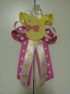 Pink and Yellow DUCK baby shower pin/corsage by diapercake4less, $10.00
