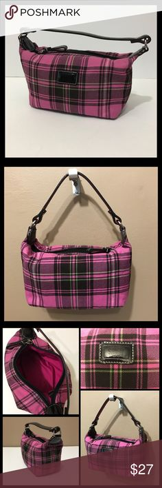 Coach Plaid Mini Bag Pink plaid mini bag with black patent leather and silver hardware. Zip closure and 1 slip pocket inside. Great used condition, but does have some ink stains inside. Outside excellent used condition. Coach Bags Mini Bags