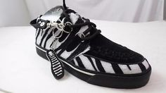 TUK WHITE BLACK ZEBRA CREEPER SNEAKERS FAUX FUR SUEDE MENS 11 M NOS A6463