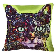 Cartoon Style Decor Cotton Linen Cushion Multicolor Cat Pattern Print Sofa Throw Pillow Home Decor Square Cojines