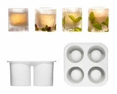 Make your own schnapps or shot-glass of ice with the silicone mould from the Swedish company Sagaform. Fill the mould with water, decorate with flowers or berries, place in freezer overnight, and you have four beautiful, cold glasses to serve drinks in! Shot Glass Mold, Glass Molds, Tee Set, The Swede, Cocktails, Ice Molds, Mould Design, Liqueur, Schnapps