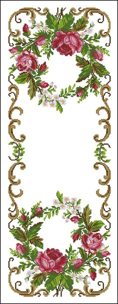 OOE 61368 - Móvil - www.c om Cross Stitch Rose, Cross Stitch Borders, Cross Stitch Flowers, Cross Stitch Charts, Cross Stitch Designs, Cross Stitching, Cross Stitch Patterns, Ribbon Embroidery, Cross Stitch Embroidery