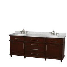 "Berkeley DBL Bathroom Vanity Dark Chestnut 80"", UM Oval Sinks, No Mirror"