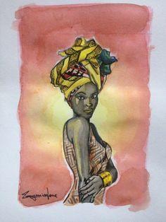 Turbante Africana. aquarela e nanquim 15x10