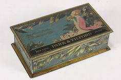 Antique New York Park and Tilford Paris Candy Tin Hinged Box Grocery Store 1920s