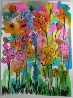 Spring has sprung....love this idea. Use watercolor or tissue paper for the background and either a sharpie, black crayon, or black paint to add flowers