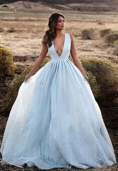 Blue Ball Gown,Deep V Neck Prom Dress,Custom Made Evening Dress,17196
