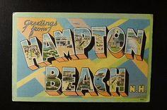 large letter postcard  Tichnor  HAMPTON BEACH