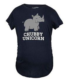Look at this #zulilyfind! Navy 'Chubby Unicorn' Maternity Tee #zulilyfinds