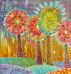 If anyone knows the artist, please add comment so we can credit it properly. Folk Art Flowers, Flower Art, Circle Art, Textile Fiber Art, Plate Art, Mandala Coloring, Silk Painting, Art Plastique, Tree Art