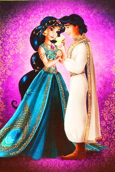Disney Fairytale Designer Collection: Jasmine and Aladdin Disney Pixar, Walt Disney, Disney Couples, Disney Animation, Disney And Dreamworks, Disney Cartoons, Disney Magic, Disney Princess Jasmine, Disney Princess Pictures