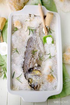 Salt-crusted baked whole fish recipe