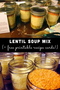 Lentil Soup Mix for Holiday Giving (+ FREE recipe card!) - Lentil Soup Mix for Holiday Giving (+ FREE recipe card! Curried Lentil Soup, Lentil Soup Recipes, Dry Soup Mix, Soup Mixes, Mason Jar Mixes, Mason Jars, Canning Recipes, Jar Recipes, Recipe Mixes