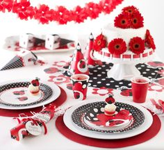 Baby Shower Lady Bug party table set up!