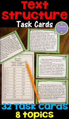 Informational Text Structure Task Cards! 32 nonfiction reading passages. Students read the passage and determine which text structure was used to write the passage.