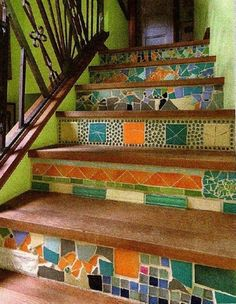 8 Certain Hacks: Wainscoting Staircase Benches wainscoting mudroom coats.Wainscoting How To Wall Treatments. Mosaic Stairs, Tile Stairs, Basement Stairs, Tiled Staircase, Deck Stairs, Mosaic Art, Mosaic Glass, Mosaic Tiles, Tiling