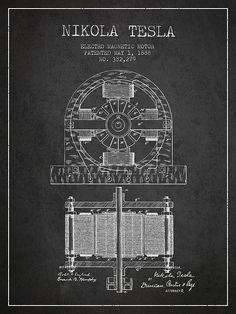 1888 Nikola Tesla Electro Magnetic Motor Patent Print. #patentprints#patentart#patentartprints #agedpixel #tesla