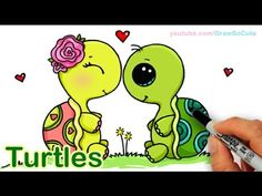How to Draw Turtles Sweet and Cute step by step