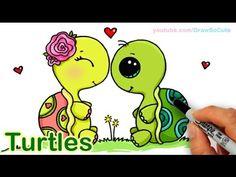 cartoon turtle drawing step by step / cartoon turtle drawing - cartoon turtle drawing cute - cartoon turtle drawing easy - cartoon turtle drawing step by step - cartoon turtle drawing character design Cute Turtle Drawings, Sweet Drawings, Cute Animal Drawings, Kawaii Drawings, Easy Drawings, Draw So Cute Animals, Cartoon Turtle, Cartoon Unicorn, Cartoon Elephant