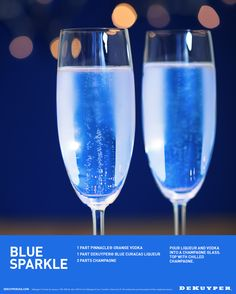 Will you be mine on New Years Eve? Add a little Blue Sparkle to your Champagne with 1 part Orange Vodka and 1 part DeKuyper Blue Curacao Liqueur. Blue Curacao Drinks, Blue Curacao Liqueur, Blue Drinks, Blue Cocktails, Cocktail Drinks, Prosecco Cocktails, Mixed Drinks, New Years Eve Drinks, New Year's Drinks