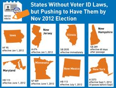 States Without Voter ID Laws, but Pushing to Have Them by Nov 2012 Election (via Colorlines)