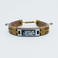 Pulseira de Couro Marrom Jesus Vive e Reina