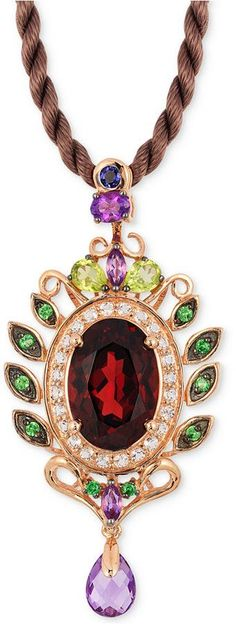 Le Vian® Crazy Collection® Garnet (5-1/3 ct. t.w) and Multi-Stone (1-3/4) Pendant in 14k Rose Gold