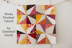 This is a nice tutorial on making Wonky Pinwheel blocks. Really, though, I'm pinning it because I can't get enough of these colors lately!  Wonky Pinwheel Tutorial
