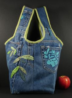 hobo tote bag from recycled Blue Jean denim with flowers from karenlukacs on Etsy