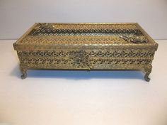 Vintage Stylebuilt GOLD Ormolu Hollywood Regency TISSUE BOX Footed