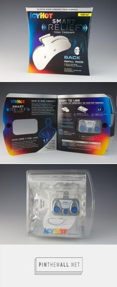 Icy Hot Smart Relief for back pain sufferers stands out on store shelves in a thermoformed pack with outer card that holds the reusable, wireless battery-powered device, customizable in 63 different intensity levels.PD
