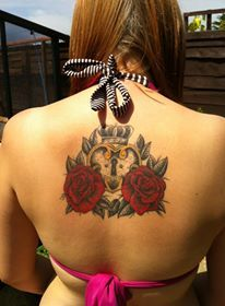 My first tattoo <3 #tattoo #tattoos #neotraditional #roses #padlock #heart #crown #leaves #red #gold