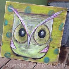 "Whimsy Owl Folk Art Painting Original OOAK Wood Art By A.Gambrel 12 X 12 1/2""    eBay"