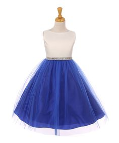 Look at this Ivory & Royal Blue A-Line Dress - Toddler & Girls on #zulily today!