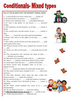 Sentences to fill in with the correct verbal conditional form - ESL worksheets