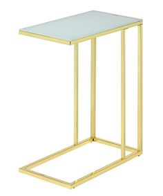 Gold & Frosted Glass End Table by Foxhill Trading Company #zulily #zulilyfinds