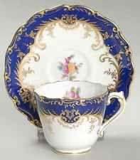 Coalport SANDRINGHAM COBALT BLUE (FLORAL, GOLD TRIM) Demi Cup & Saucer 1894217