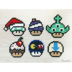 Mushrooms perler beads by hannah Hama Beads, Fuse Beads, Pearl Beads Pattern, Diy And Crafts, Arts And Crafts, Pokemon, Anime Pixel Art, Peler Beads, String Crafts