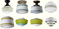 schoolhouse electric hand-painted flush mount lights (Cool Rooms With Lights) Retro Lighting, Barn Lighting, Farmhouse Lighting, Antique Lighting, Cool Lighting, Dining Lighting, Cabinet Lighting, Kitchen Lighting, Mobile Bar
