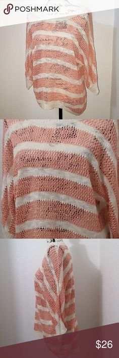 """Pink Rose knit striped sweater blush pink cream Pink Rose open knit striped 3/4 sleeve sweater. blush pink and cream stripes. hand wash clean only. 100% acrylic.   Size Large - 20"""" pit to pit, 24"""" length.  See photos for details. Smoke free, pet friendly home.   Please message me with any questions. Ask if additional size detail is needed.   15% discount for 3+ item bundles. Check out my closet. Happy Poshing!  553/CT Pink Rose Sweaters"""