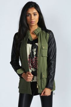 Sian Studded Miltary Jacket With PU Sleeves at boohoo.com