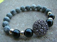 Beaded Bracelet, Black, Stretch Bracelet, Gemstone Bracelet, Silver, Stackable Beaded Bracelet, Women's Bracelet, Beaded Stretch Bracelet by BeJeweledByCandi on Etsy