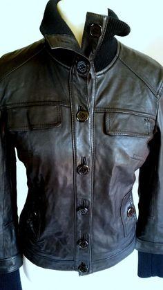 ARMANI JEANS Women's Leather Jacket Coat Motorcycle Leather Size:eu 42 usa 6   #ArmaniJeans #Motorcycle